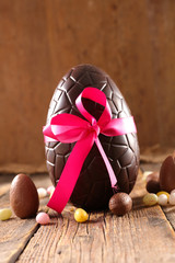 chocolate egg- easter day, easter chocolate and ribbon