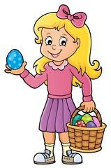 Türaufkleber Für Kinder Girl with Easter eggs theme image 1