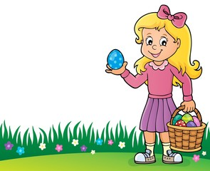 Türaufkleber Für Kinder Girl with Easter eggs theme image 2