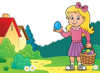 Türaufkleber Für Kinder Girl with Easter eggs theme image 3