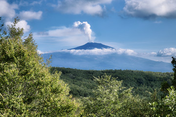 Smoke Summit Crater Of Etna Mount From Forest Of Nebrodi Park, Sicily