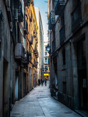 Poster Narrow alley A Typical Spanish Alleyway in the Winter