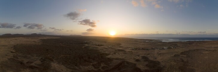 Zelfklevend Fotobehang Canarische Eilanden Fuerteventura panoramic sunrise landscape view on the Canary Islands in Spain