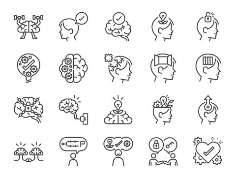 Mindset icon set. Included icons as idea, think, creative, brain, moral,mind, kindness and more.