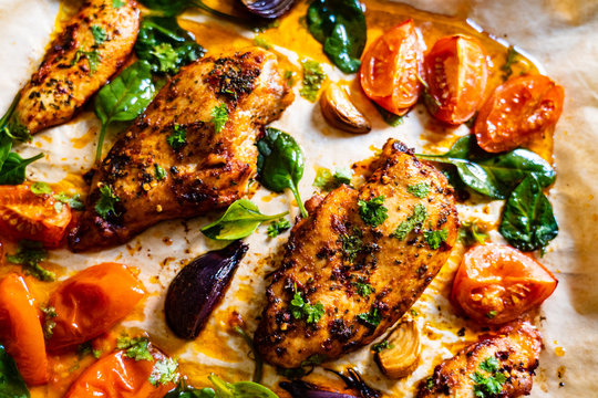 Sheet-pan barbecue chicken breasts with roast vegetables
