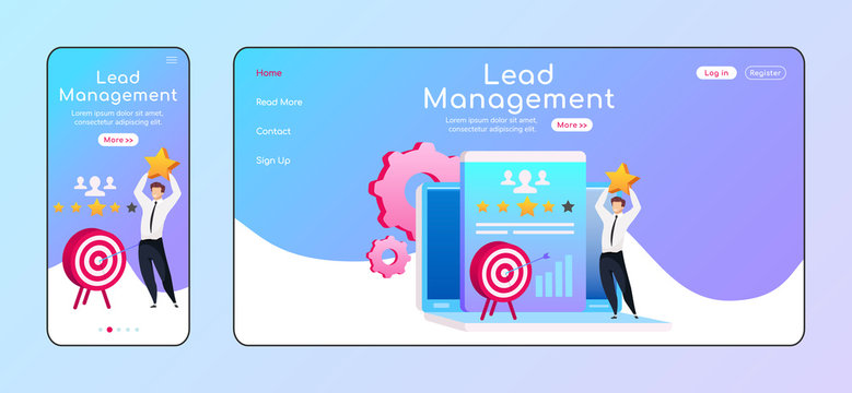 Lead management adaptive landing page flat color vector template. Male standing on laptop mobile, PC homepage layout. Client information one page website UI. CRM software webpage cross platform design