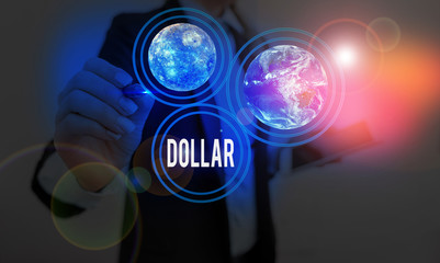 Text sign showing Dollar. Business photo showcasing a piece of paper money worth one dollar Federal Reserve note Elements of this image furnished by NASA