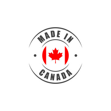 Made in Canada label with Canadian flag