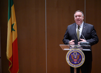 U.S. Secretary of State Mike Pompeo speaks before the signing of a memorandum of understanding (MOU) during a meeting with business leaders in Dakar
