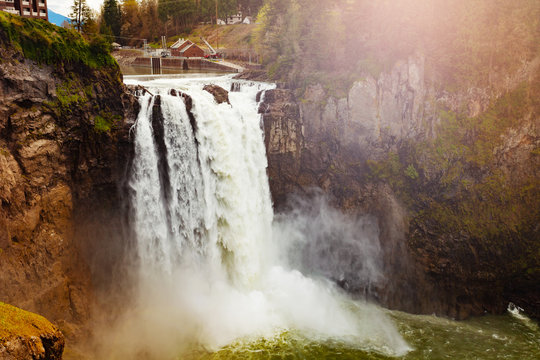 Snoqualmie Falls is a 268-foot waterfall in the northwest United States near Seattle, Washington, USA