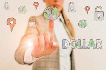 Word writing text Dollar. Business photo showcasing a piece of paper money worth one dollar Federal Reserve note