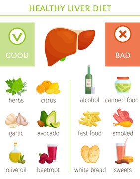 The best and worst food for the liver. Information banner on the topic of health and disease prevention. Infographics with good and bad food for gall and liver. Vector illustration.