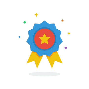 Unique flying Achievement flat badge icon vector for website