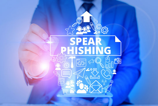 Conceptual hand writing showing Spear Phishing. Concept meaning Sending fake emails to extract financial data from user