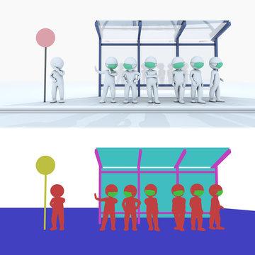 Mask stickman at bus stop full body 3D rendering