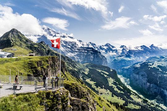 View from  Mount Männlichen into the Lauterbrunnen valley, Wengen, Grindelwald, Bernese Oberland and Alps, Switzerland
