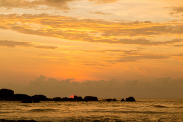 Dramatic sunset sky with clouds over ocean. Sri lanka