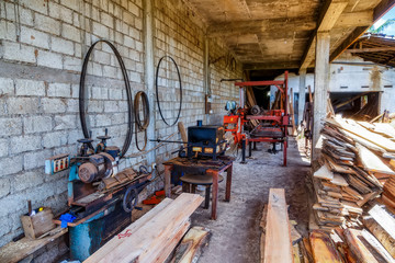 simple old sawmill with rusty equipment in Asia, Sri Lanka
