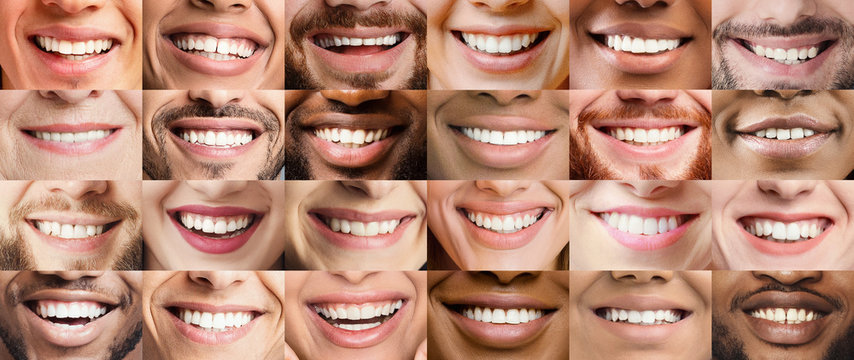 Collage, made of many different adult people smiles