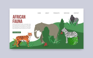 Zoo or safari entrance with african animals vector web template. Illustration of tiger, elephant, gorilla and zebra, african fauna web landing page. Visiting Africa animals park. Website or web page.
