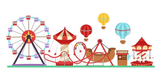 Amusement park vector illustration isolated on white. Flat design conceptual city banners with carousels. Slides and swings, ferris wheel attraction and air baloon cartoon amusement park poster.