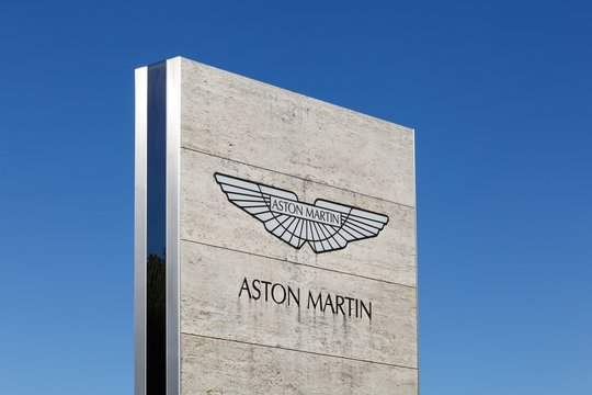Merignac, France - June 5, 2017: Aston Martin logo on a panel. Aston Martin is a British manufacturer of luxury sports cars and grand tourers
