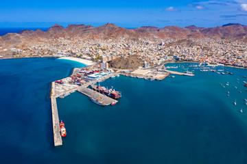 Aerial view of Mindelo Marina in Sao Vicente Island in Cape Verde
