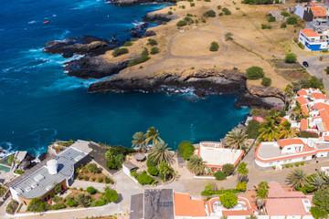 Aerial view of Tarrafal coast (ponta de atum) in Santiago island in Cape Verde - Cabo Verde