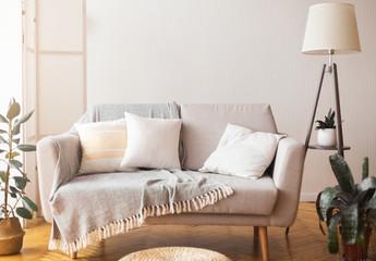 Fototapeta Cozy home interior sofa and cushions and floor lamp obraz