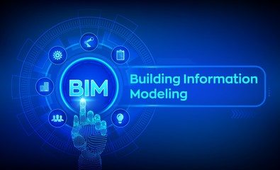 BIM. Building Information Modeling Technology concept on virtual screen. Business Industry, Architecture and Construction concept. Robotic hand touching digital interface. Vector illustration.