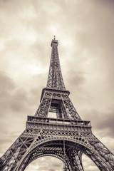 The Eiffel Tower. Vintage photo processing. Paris France