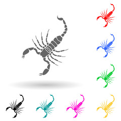 Scorpion multi color style icon. Simple glyph, flat vector of insect icons for ui and ux, website or mobile application