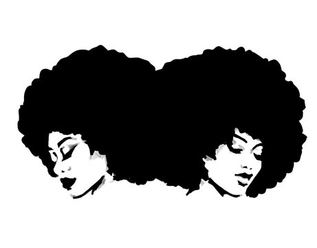 Two afro women with big natural hair. African queen