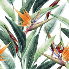 Seamless floral pattern with tropical leaves and strelitzia on light background. Template design for textiles, interior, clothes, wallpaper. Watercolor illustration
