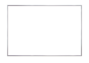 Rectangle realistic frame metal or silver. Slender on white background. Steel, photoframe template. For picture. Vector illustration.