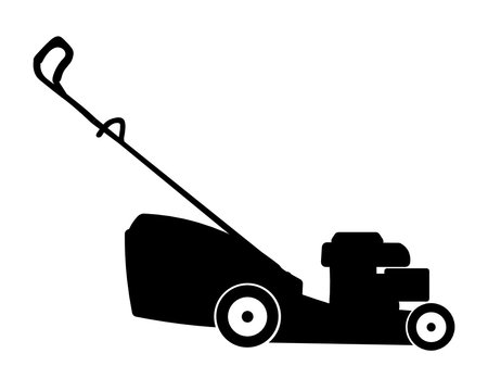 Flat vector black silhouette of four wheeled lawnmower isolated on white background.
