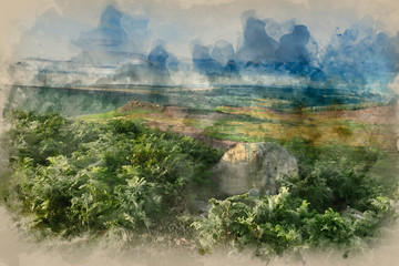 Canvas Prints Khaki Digital watercolor painting of Stunning dawn sunrise landscape image from Higger Tor towards Mother Cap in Summer in Peak District England