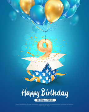 Celebrating of 9 th years birthday vector 3d illustration. Ninth anniversary celebration. Open gift box with explosions confetti and number nine flying on balloons on light background
