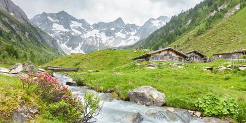 Fototapete - Panorama von Almhütten mit Gebirgsfluß im Zillertal und Gletscher im Hintergrund