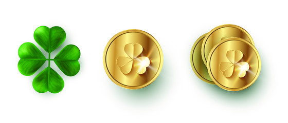 A collection of St. Patrick's Day elements. Realistic coins and clover vector