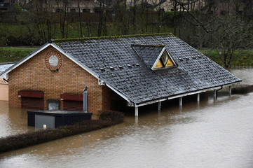 A sports pavilion underwater in Taff Wells, South Wales, Britain