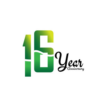 16 Years Anniversary Celebration Logo Vector Template Design Illustration