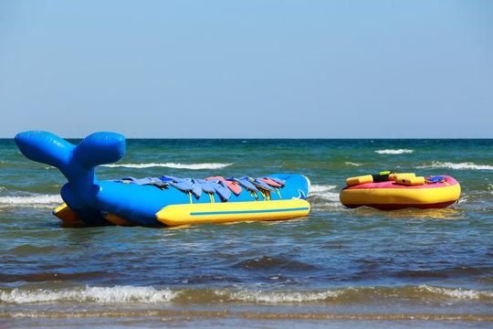 Banana boat at sea