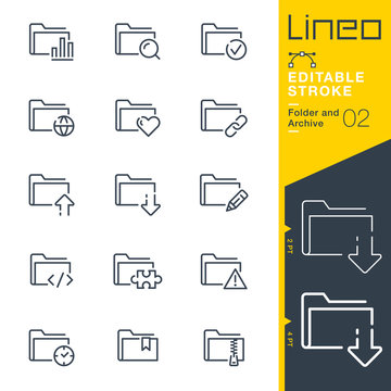 Lineo Editable Stroke - Folder and Archive line icons