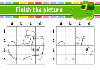 Finish the picture. Coloring book pages for kids. Education developing worksheet. Leprechaun boot. Handwriting practice. Cartoon character. Vector illustration.