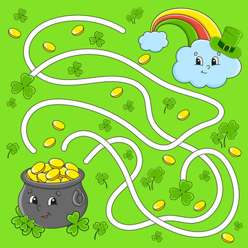 Funny maze for kids. Pot, rainbow. St. Patrick's day. Puzzle for children. Cartoon character. Labyrinth conundrum. Color vector illustration. Find the right path.