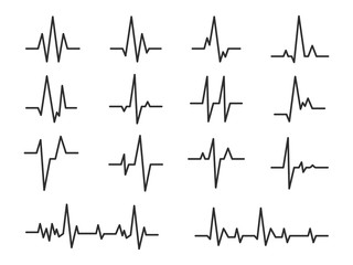 Ecg. Sinusoidal pulse lines, frequency heartbeat stress testing life, monitor with signal graphic pulsing, cardiogram heartbeat logo vector set Fototapete