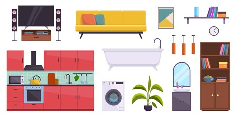 Flat furniture. Sofa, lamps and pictures, bath, bookcase and washbasin. Tv, washer and kitchen home room interior accessories vector set