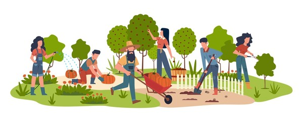 People in garden. Agricultural workers doing farming job harvesting with garden tools. Collecting fruits, watering vegetables vector background Fototapete