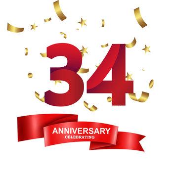 34 Years Anniversary Celebration Logo Vector Template Design Illustration